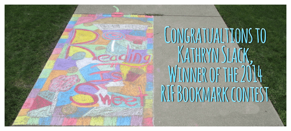RIF Bookmark Winner, Kathryn Slack, recreates her artwork on the library walk.